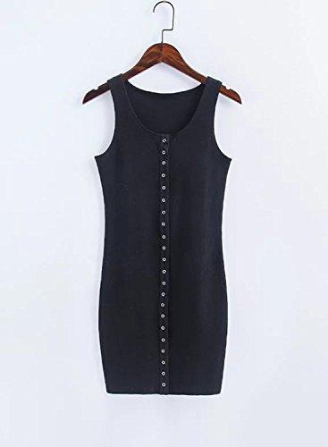Azbro Women's Casual Solid Mini Bodycon Tank Dress Black