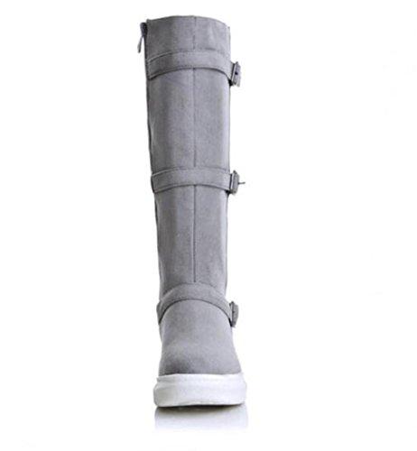 stivali PU casuali delle donne autunno e in inverno stivali tubo piattaforma impermeabile gray