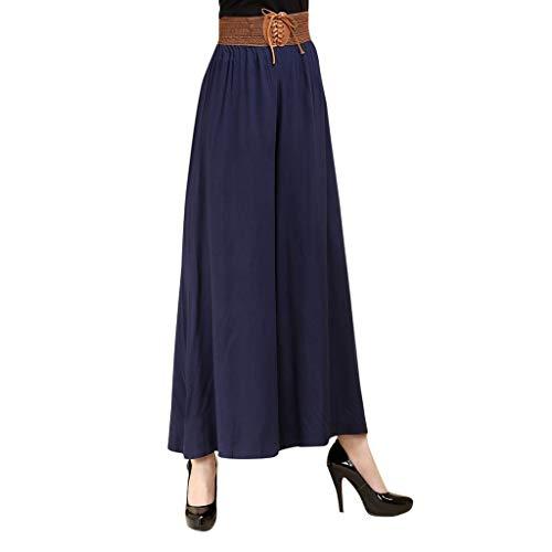 Yvelands Damen Hosen Beiläufige Hosen mit hohem Taillengürtel Solide Lady Loose Linen Wide Leg Pants(Blau,XXL) Butterfly Beanie Baby