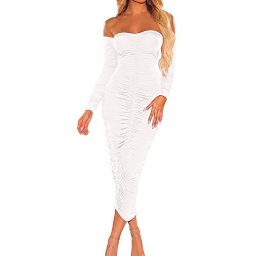 BASACA Damen Kleid Abendkleid Cocktailkleider Ballkleid Langarm Schulterfrei Abendkleid Dinner Party Freizeit Partykleid Minikleid Skaterkleid Spitzenkleid (Weiß, XXL)