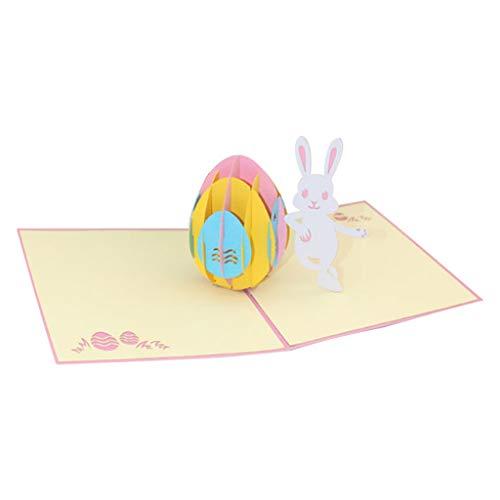 rte, Handmade 3D Pop Up Karten Happy Easter Egg Bunny Rabbit Laserschneiden Grußkarte Geschenk Dekoration, ()