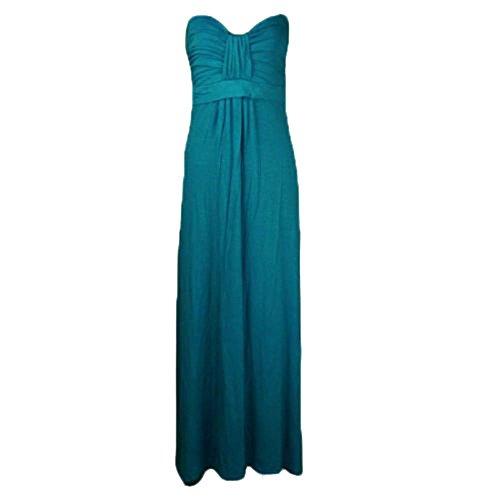 Janisramone Damen Plus Größe Bogen Knoten Krawatte trägerlosen Maxi-Kleid Größe 8-26 Blaugrün