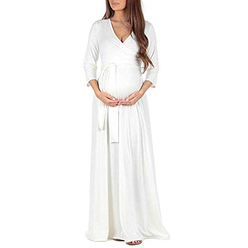 Huixin Femmes Enceinte Femme Mode Wrap Robe De Réglable Vêtements Maternité Multifonction Maternité Robe De Maternité Black Friday Cyber   Lundi (Color : Blanc, Size : L)