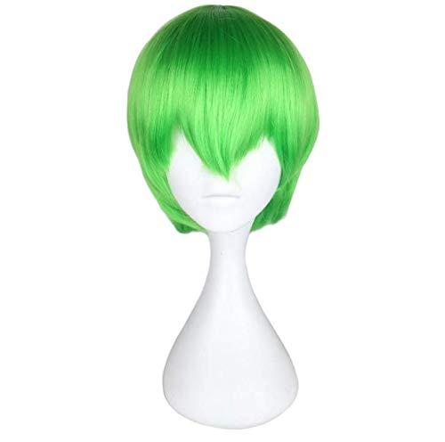 ze Haare glattes Haar schräge Pony Mode Simulation atmungsaktiv Party Party Geburtstagsfeier - grün ()