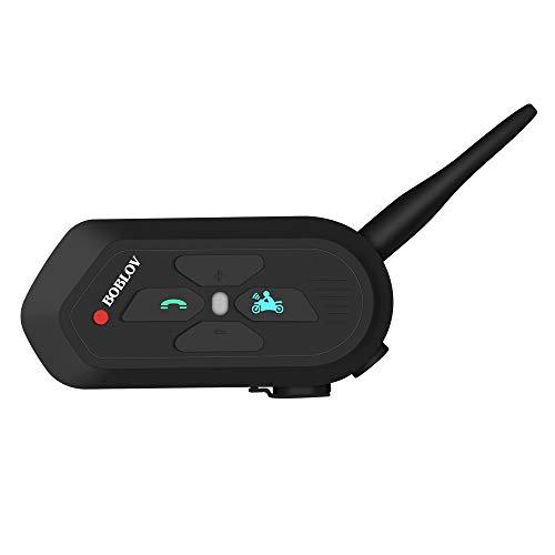 Boblov Motorradhelm Intercom Motorrad Headset Gegensprechanlage V6 Pro 1200M Motorrad Kopfhörer Für Handy Anruf Musikhören (1 Pack) -