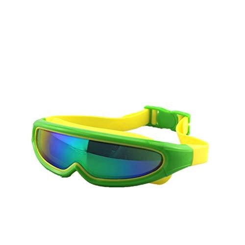 LPcool Taucherbrille,Outdoor Unisex Große Rahmen Bunte Überzogene Schutzbrillen Wasserdichte Anti-Fog-Silikon Schwimmen, Grün