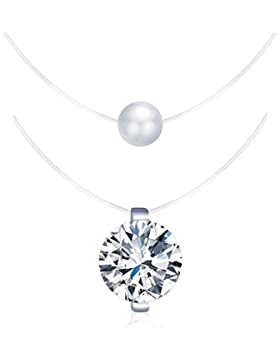Yumilok 925 Sterling Silber Zirkonia Perle Anhänger Halskette Set Collier Nylonband Kette mit Anhänger für Damen...