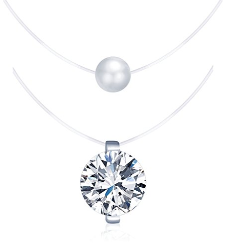 Yumilok set di 2 collane in nylon, ciondolo in argento sterling 925, con zircone, con perla, ciondolo per donna e ragazze