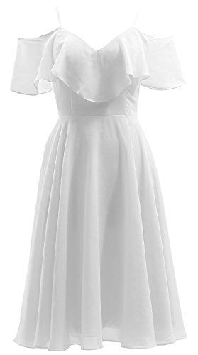 MACloth Ruffled Chiffon Short Bidesmaid Dress V Neck Wedding Party Formal Gown white