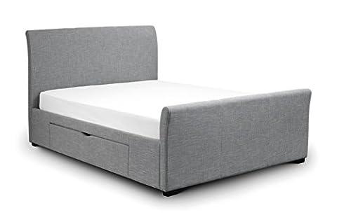 Julian Bowen Capri Bed with Drawers, Fabric, Light Grey, 135 cm, Double