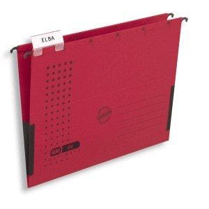 Elba Hängetasche chic A4 230g/qm Karton mit Leinenfröschen rot VE=5 Stück
