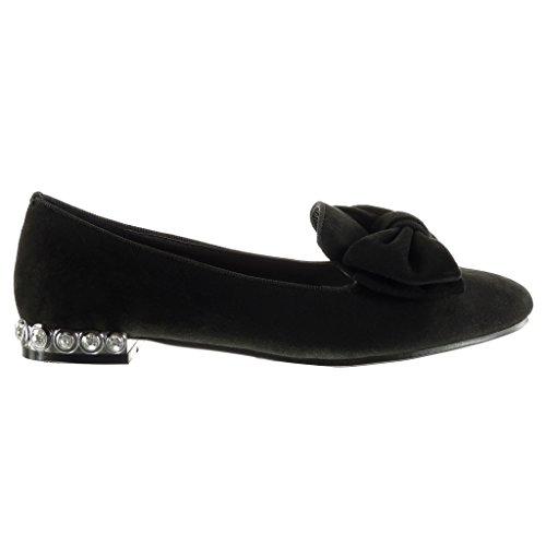 Angkorly - damen Schuhe Mokassin - Slip-On - Nieten - besetzt - Schmuck - fliege Blockabsatz 1.5 CM Schwarz