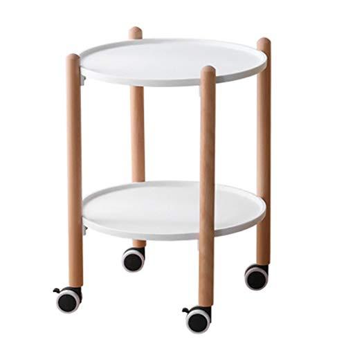 Kaffeetische Tisch Sofa Wohnzimmer Schlafzimmer Seite Maschine Auf Rädern Balkon Snacks Verschiedenes Tisch Runder Doppelfunktions-Mehrzweckwagen (Color : Weiß, Size : 56 * 41cm)