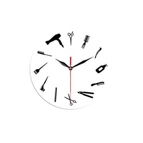 Fulltime(TM) 12-Inch Reloj Creativo, Decoracion de casa/Cocina/Oficina, Relojes de Pared de Herramientas de peluquería para el Dormitorio Sala de Estar Decorativa con un Reloj Mudo Buena (Blanco)