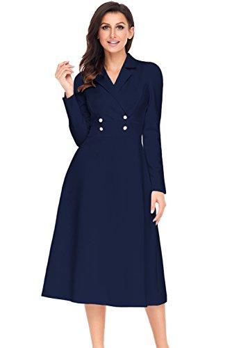 TOUVIE Damen Vintage Elegant Langarm Kleid Midi Abendkleid Business Cocktailkleid Navy Blau L