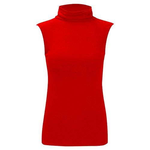 Da donna Nuovo Celeb Polo Tartaruga Collo Senza Maniche Donna Basics estate camicia top 8–26 Red - Soft & Smooth Fabric Lightweight Top