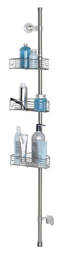 mDesign Standing Bathroom Shower Caddy Station for Shampoo, Conditioner, Soap - Corner, Brushed Stainless Steel