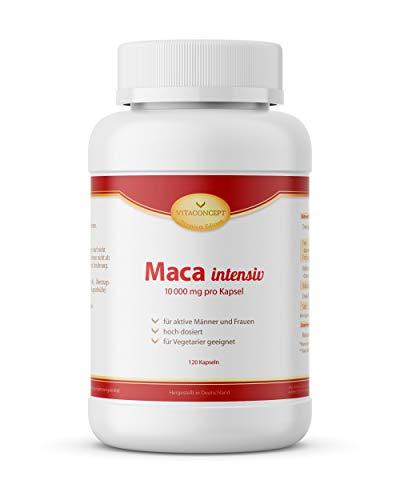 Maca intensiv * 10000 mg pro Kapsel * 120 Kapseln - erfüllt höchste Pharma-Qualitätskriterien - Made in Germany - für Vegetarier geeignet - VITACONCEPT -