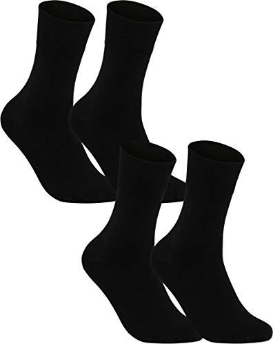 Vitasox 31124 Herren Socken Extra weit Gesundheitssocken Sensibel ohne Gummi 4er Pack Schwarz 43/46 (Männer Extra Für Weite Socken)