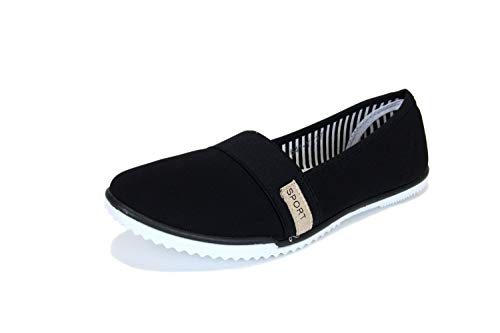 Frentree Damen Sportliche Ballerinas Bequeme Sneaker Slip-Ons, Farbe:schwarz, Größe:37