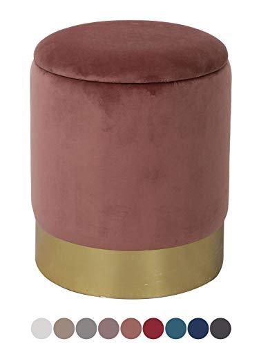 casamia Samthocker Sitzhocker Samt Pouf Sitzpouf Velour Hochwertig mit Stauraum u. Deckel Ø 31 cm Höhe 38 cm Farbe Rose