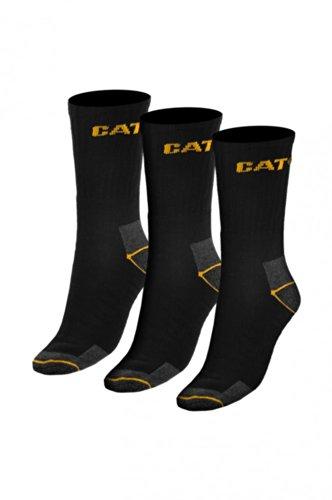 3er Pack CATERPILLAR Cat-Work Socken Herren Arbeitssocken Strümpfe Mehrfarbig 115A, Farbe:Black;Größenauswahl:46 - 50