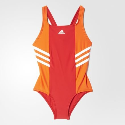 adidas BTS 1PC 3S KG – Badeshorts, Kinder, BTS 1PC 3S KG, Orange/Rot/Weiß, 104