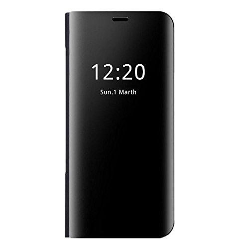 Huawei P20 / P20 Lite / P20 Pro Hülle, Huawei P20 lite Spiegel Schutzhülle PU-Leder Flip Handyhülle Huawei P20 Tasche mit Standfunktion Huawei P20 Pro Ledertasche (Huawei P20 lite, Schwarz)