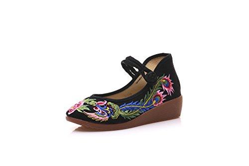 KAFEI Donna piste e scarpe di tela vintage ricamo Black