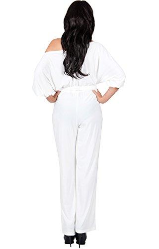 KOH KOH® Damen Jumpsuit Schulterfrei 3/4 Sleeve Einteiler Playsuit Reinweiß