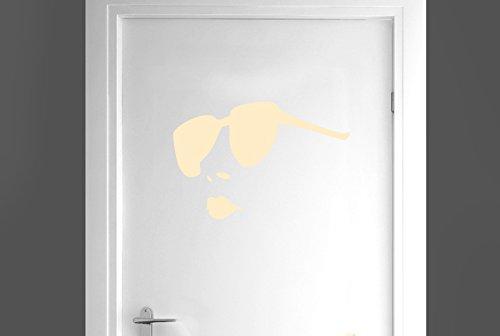 CUT IT OUT Frauen tragen Sonnenbrille Tür Raum Sticker Art Aufkleber-Beige (Höhe 27cm x Breite 40cm)