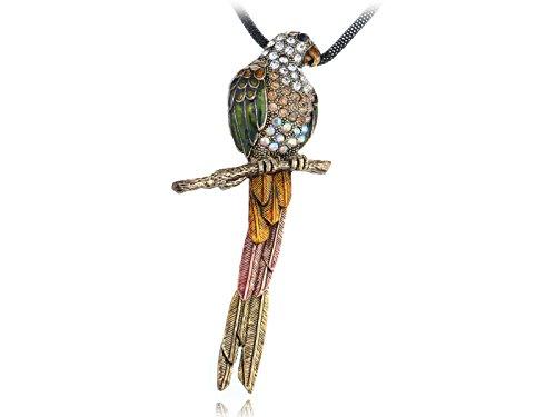 Alilang Antique Gold Farbton Bunte tropische Papageien Vogel Anhänger Seil Halskette