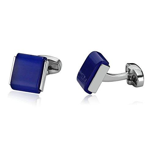 Epinki Luxus Französisch Tuxedo Shirt Hemd Manschettenknöpfe Für Herren Edelstahl Quadrat Kristall mit Blau (Manschette Red Französisch Shirt)