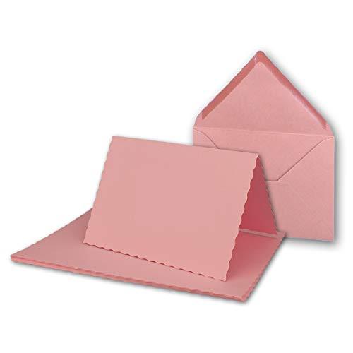 25x Faltkarten-Set DIN A6 mit DIN C6 Brief-Umschlägen - wellig gestanzter Rand - Rosa - 10,5 x 14,8 cm - Wellenschnitt Karten-Sets - FarbenFroh by GUSTAV NEUSER - Faltkarte