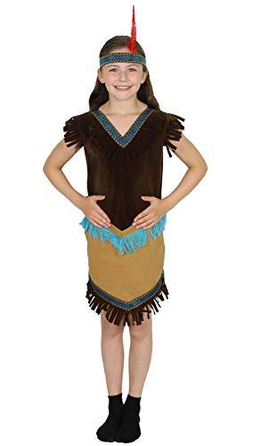 Foxxeo Indianer Kostüm für Mädchen Indianerin Kleid und Stirnband für Fasching Karneval Größe 110-116 (Süße Pocahontas Kostüm)