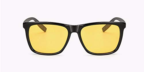 WSKPE Sonnenbrille Marke Design Männer Polarisierte Sonnenbrillen Klassische Männliche Fahren Sonnenbrille Frauen Brillen Uv400 (Schwarzen Rahmen Dunkle Gelbe Linse)