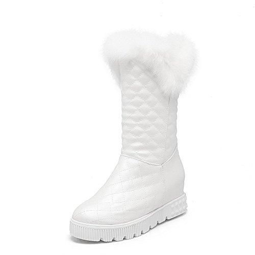 AllhqFashion Damen Reißverschluss Rund Zehe Mittler Absatz Weiches Material Stiefel, Weiß, 37