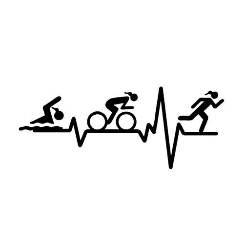 Zybnb 14,7 * 5,9 CM HERZ BEAT LINE Triathlon Schwimmen Mädchen Runner Fahrrad Dekor Auto Aufkleber Zubehör Vinyl-3 PCS (Das Fahrrad Runner)