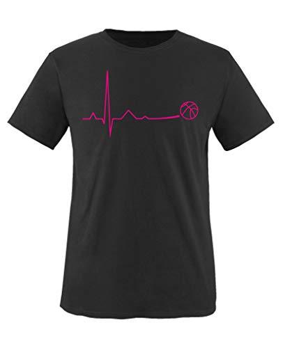 Comedy Shirts - Pulsschlag Basketball - Mädchen T-Shirt - Schwarz/Pink Gr. 152-164