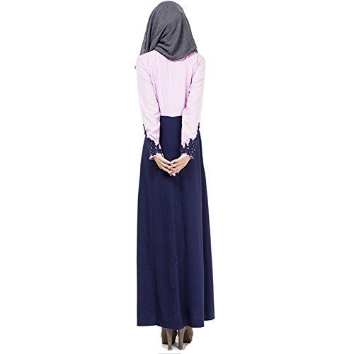 hibote Lange Ärmel Gewand kleidet neue Art und Weise Bannfarbe Hülse Kleidspitzeoverallkleid muslimischer Frauen Violett