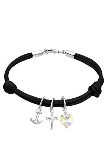 Elli Armband Damen Kreuz Herz Anker mit Swarovski® Kristalle in 925 Sterling Silber