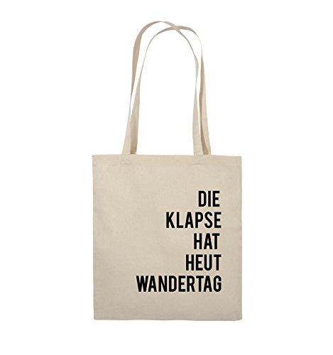 Comedy Bags - DIE KLAPSE HAT HEUT WANDERTAG - Jutebeutel - lange Henkel - 38x42cm - Farbe: Natural / Schwarz