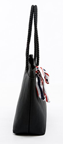 Tibes Voyage femmes épaule sac à main pu fourre-tout en cuir Noir