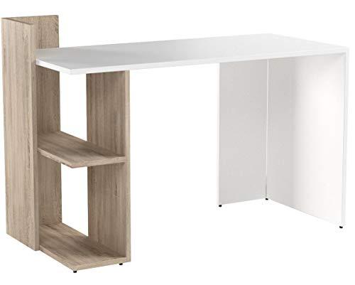 VICCO Schreibtisch Theo 120 x 73 cm Weiß/Eiche Sonoma/Anthrazit - Schreibtisch Arbeitstisch Bürotisch (Weiß/Sonoma Eiche)