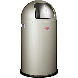 Wesco Pushboy Powder Coated Steel Waste Bin (50L) - New Silver