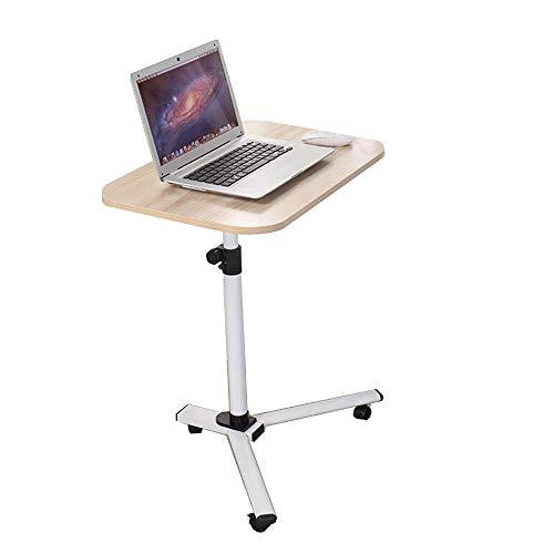 Dongy Abnehmbare Laptop Tisch-Swivel Wheel Rolling Tray Table - Einstellbare Bett Lesen Schreibtisch für Zuhause oder Krankenhaus (Farbe : Holzfarbe) -