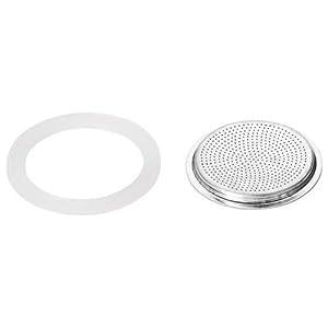 Bialetti 0800006 – Set di 3 guarnizioni + Filtro per caffettiere Italiane da 12 Tazze, Metallo Bianco, 5 x 5 x 1 cm