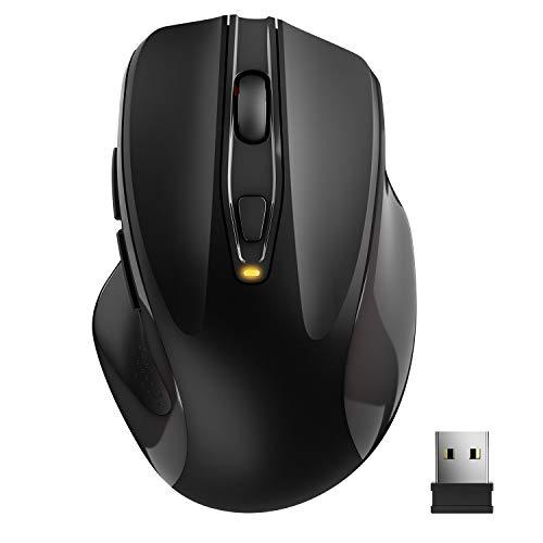 TedGem Kabellose Maus, Funkmaus 2.4G USB Wireless Maus, Tragbar Laptop Drahtlose Maus mit 6 Tasten, 5 Einstellbare DPI 2400/2000/1600/1200/800 für Laptop & PC, Microsoft & macOS(Schwarz)