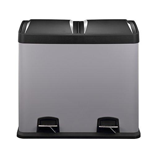 Mari Home - Cubo de basura de 48 l, gris frío, de acero, con 2 compartimentos de 24 l cada uno, con pedal, para reciclaje, para cocina