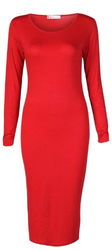 Crazy Girls neuen Frauen Damen-Promi-Stil Soft Feel Plain Bodycon Midi-Maxi Kleid-Größe S / M-L / XL = EU36-EU46 Rot